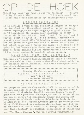 Op De Hoek, weekblad voor Akersloot 1962-03-23