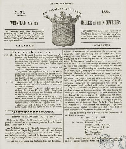 Weekblad van Den Helder en het Nieuwediep 1853-08-01