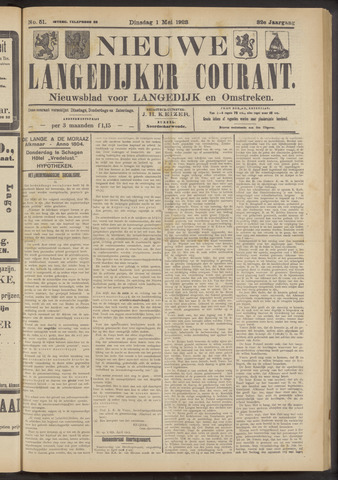 Nieuwe Langedijker Courant 1923-05-01
