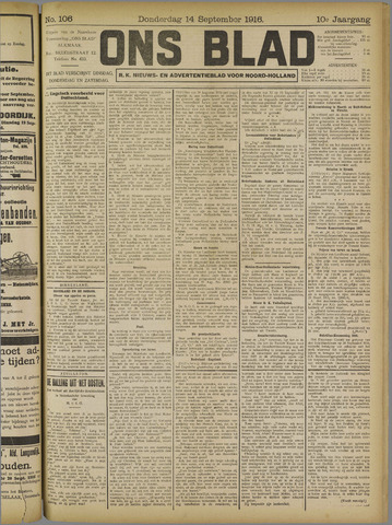 Ons Blad : katholiek nieuwsblad voor N-H 1916-09-14