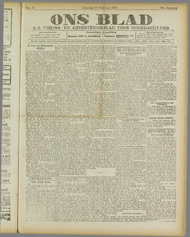 Ons Blad : katholiek nieuwsblad voor N-H 1920-02-14