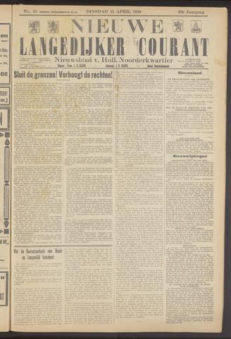 Nieuwe Langedijker Courant 1930-04-15
