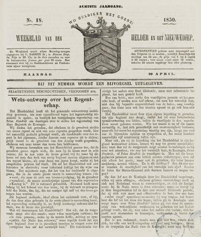 Weekblad van Den Helder en het Nieuwediep 1850-04-29