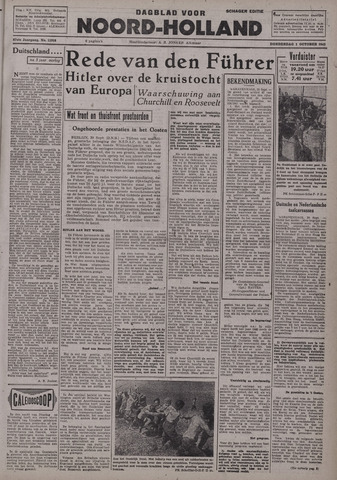 Dagblad Noord-Holland, Schager editie 1942-10-01