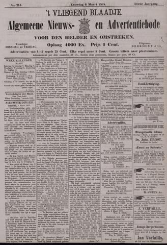 Vliegend blaadje : nieuws- en advertentiebode voor Den Helder 1875-03-06