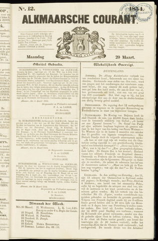 Alkmaarsche Courant 1854-03-20
