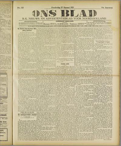 Ons Blad : katholiek nieuwsblad voor N-H 1921-01-27