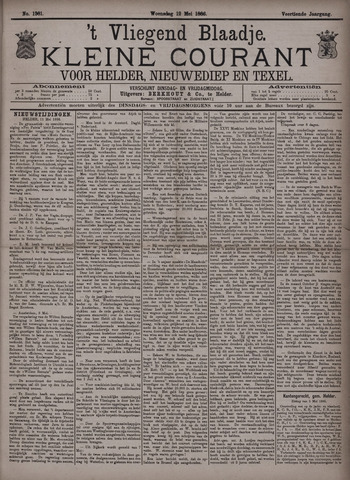 Vliegend blaadje : nieuws- en advertentiebode voor Den Helder 1886-05-12