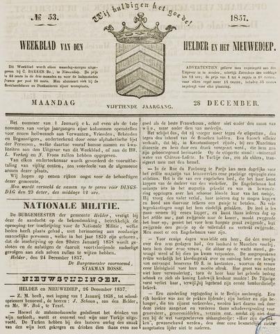 Weekblad van Den Helder en het Nieuwediep 1857-12-28