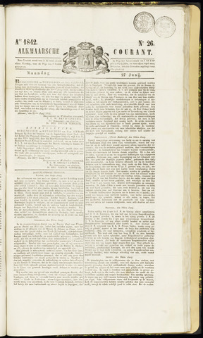 Alkmaarsche Courant 1842-06-27