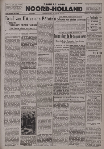 Dagblad Noord-Holland, Schager editie 1942-11-28
