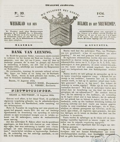 Weekblad van Den Helder en het Nieuwediep 1854-08-14