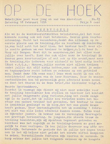 Op De Hoek, weekblad voor Akersloot 1956-02-18