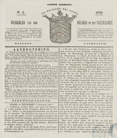 Weekblad van Den Helder en het Nieuwediep 1850-02-04
