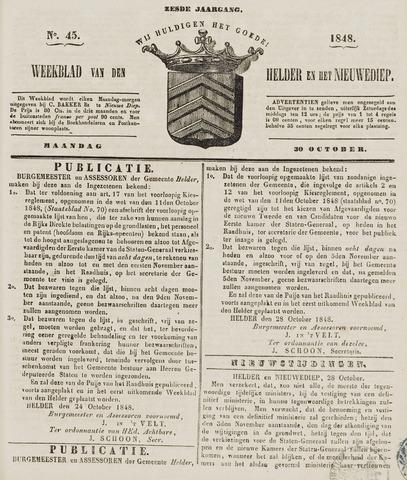 Weekblad van Den Helder en het Nieuwediep 1848-10-30