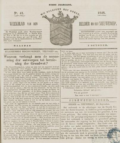 Weekblad van Den Helder en het Nieuwediep 1848-10-02