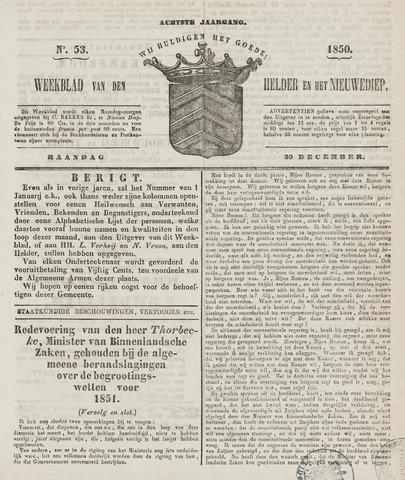 Weekblad van Den Helder en het Nieuwediep 1850-12-30