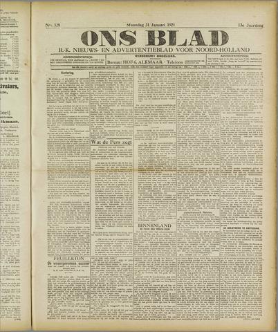 Ons Blad : katholiek nieuwsblad voor N-H 1921-01-31