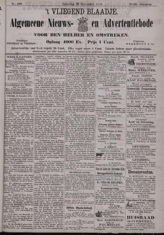 Vliegend blaadje : nieuws- en advertentiebode voor Den Helder 1875-11-20