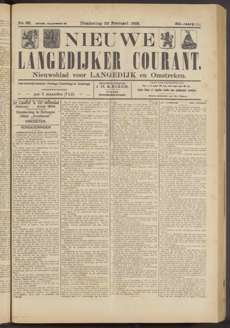 Nieuwe Langedijker Courant 1923-02-22