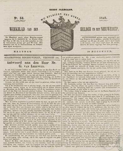 Weekblad van Den Helder en het Nieuwediep 1848-12-18
