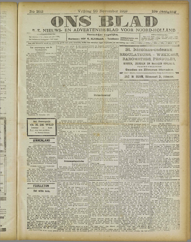Ons Blad : katholiek nieuwsblad voor N-H 1919-11-28
