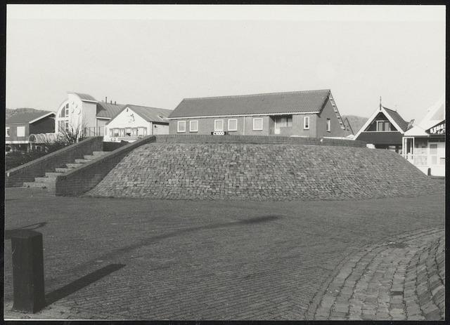 Wandelgebied trap stenen heuvels. daken