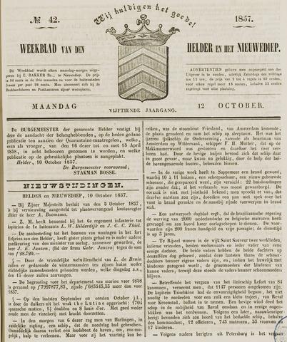 Weekblad van Den Helder en het Nieuwediep 1857-10-12