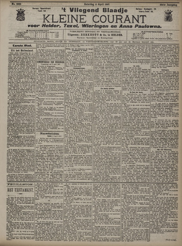 Vliegend blaadje : nieuws- en advertentiebode voor Den Helder 1907-04-06