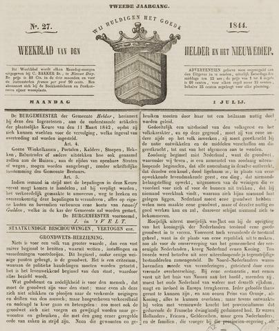 Weekblad van Den Helder en het Nieuwediep 1844-07-01