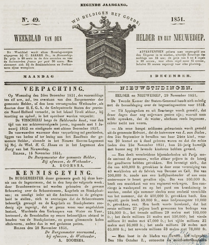 Weekblad van Den Helder en het Nieuwediep 1851-12-01