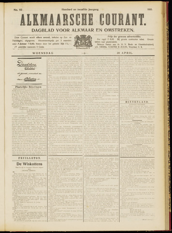 Alkmaarsche Courant 1910-04-20