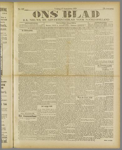 Ons Blad : katholiek nieuwsblad voor N-H 1920-09-17