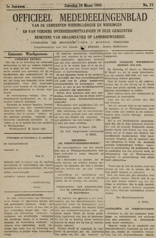 Mededeelingenblad Wieringermeer en Wieringen 1943-03-20