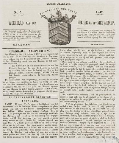 Weekblad van Den Helder en het Nieuwediep 1847-02-01