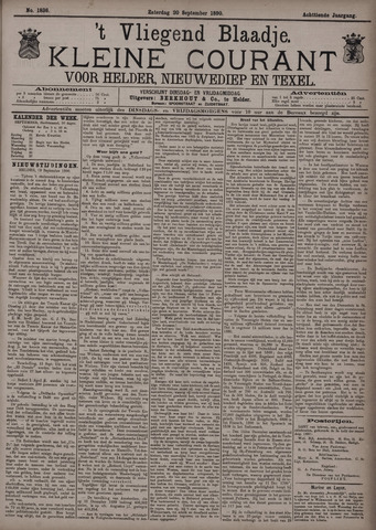 Vliegend blaadje : nieuws- en advertentiebode voor Den Helder 1890-09-20