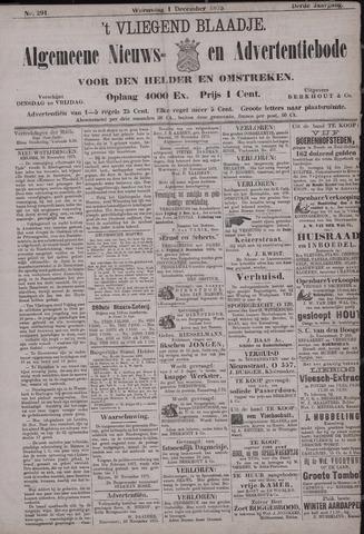 Vliegend blaadje : nieuws- en advertentiebode voor Den Helder 1875-12-01