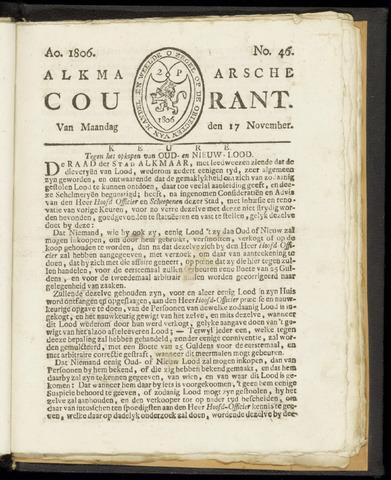 Alkmaarsche Courant 1806-11-17