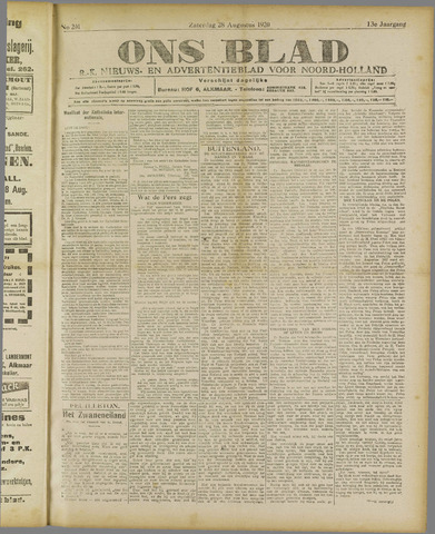 Ons Blad : katholiek nieuwsblad voor N-H 1920-08-28