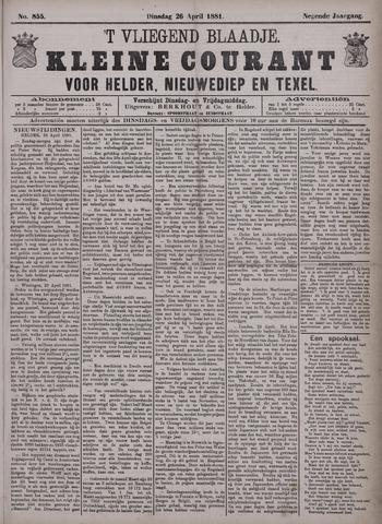 Vliegend blaadje : nieuws- en advertentiebode voor Den Helder 1881-04-26