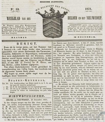 Weekblad van Den Helder en het Nieuwediep 1851-12-29