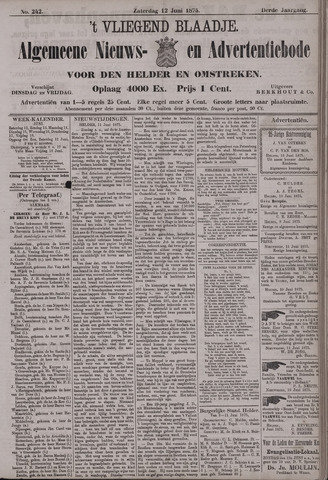 Vliegend blaadje : nieuws- en advertentiebode voor Den Helder 1875-06-12
