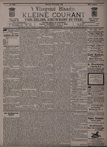 Vliegend blaadje : nieuws- en advertentiebode voor Den Helder 1895-11-16