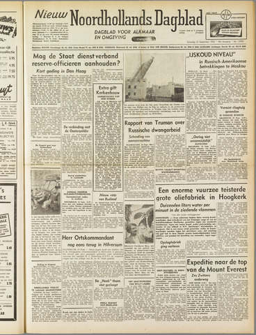 Nieuw Noordhollandsch Dagblad : voor Alkmaar en omgeving 1952-09-20