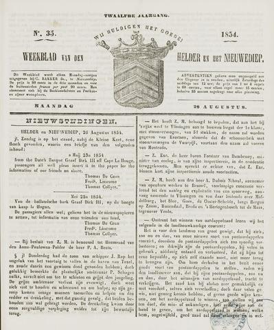 Weekblad van Den Helder en het Nieuwediep 1854-08-28