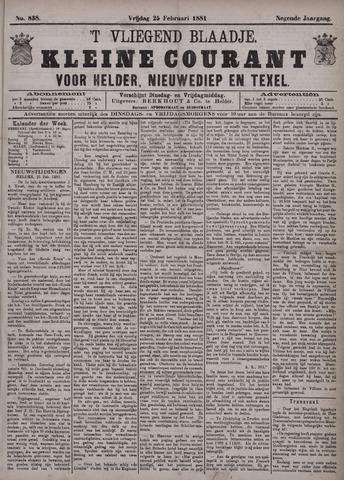 Vliegend blaadje : nieuws- en advertentiebode voor Den Helder 1881-02-25