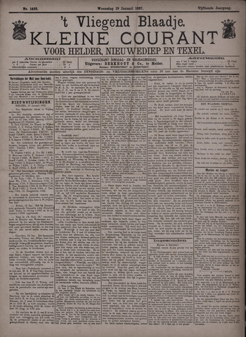 Vliegend blaadje : nieuws- en advertentiebode voor Den Helder 1887-01-19