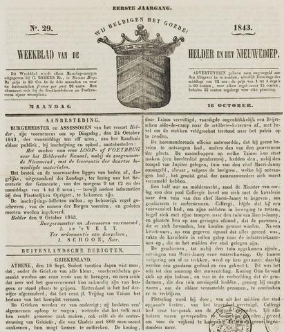 Weekblad van Den Helder en het Nieuwediep 1843-10-16