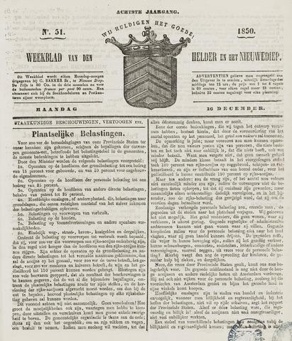 Weekblad van Den Helder en het Nieuwediep 1850-12-16