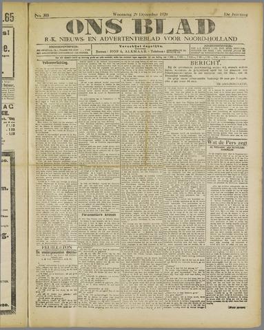 Ons Blad : katholiek nieuwsblad voor N-H 1920-12-29